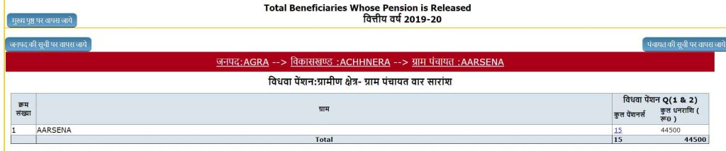 Vidhwa Pension List UP